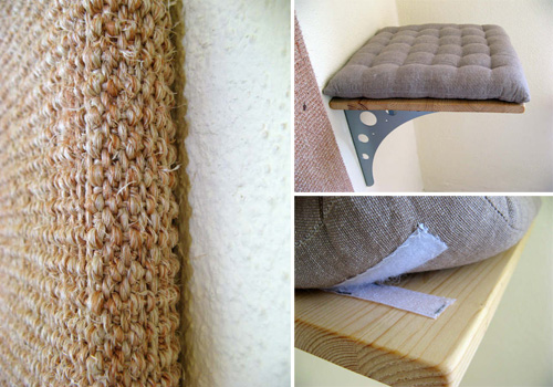 Eva S Custom Cat Shelves With Cushions And Sisal Scratcher