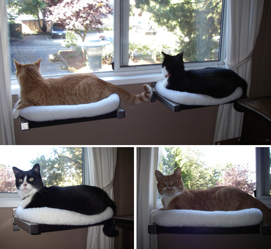 Hilary s diy window perches with cozy fleece beds for Mensole per gatti ikea