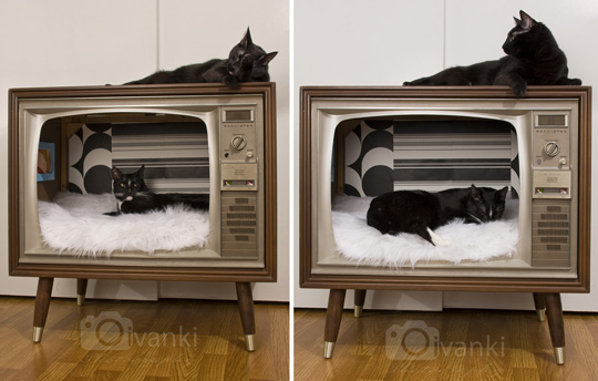 DIY Cat Bed from Vintage TV
