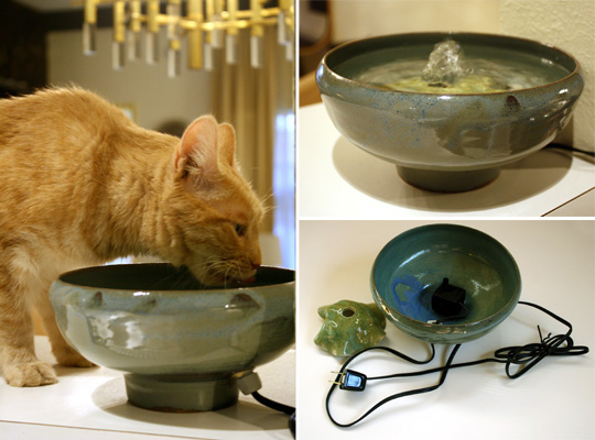 Handmade Ceramic Cat Drinking Fountains