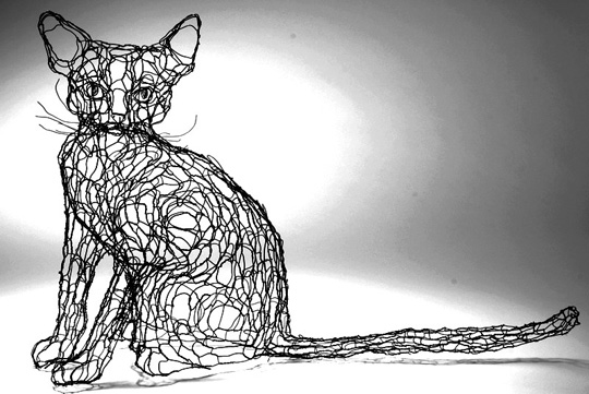 Wire Cat Sculptures by Elizabeth Barrien
