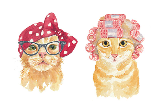 Whimsical Watercolor Cats By Deidre Wicks Hauspanther