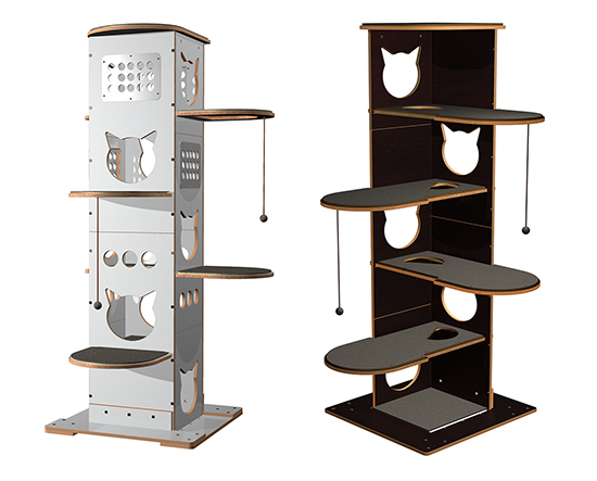 The collection includes a number of modern cat trees that can be ...